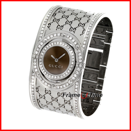 881b63f4db7 Gucci The Twirl  Stainless Steel and Diamonds.Womens white Gucci twirl watch  for sale. In great condition other than in need of a new battery.