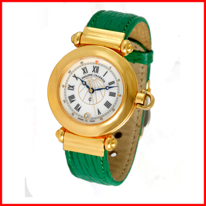 Philippe Charriol Men's Unisex Gold Columbus Green Leather Vintage Dress Watch