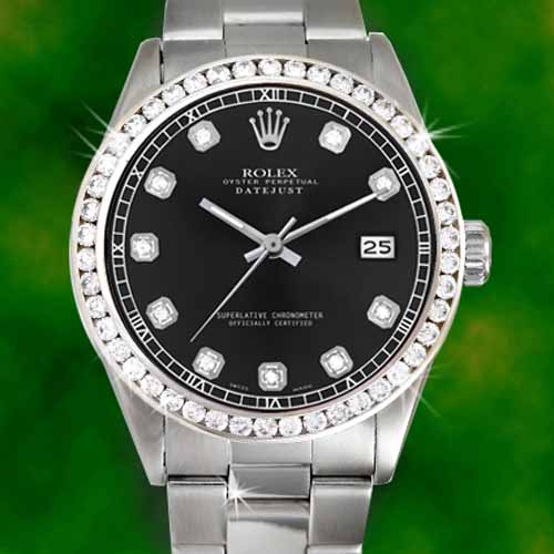 Rolex Watch With Black Diamonds
