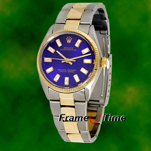 Rolex Men's Oyster Perpetual Diamond Blue 18K Gold & Steel Watch