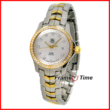 Tag Heuer Ladies Link Diamond Mother of Pearl Gold Watch WJF1354.BB0581